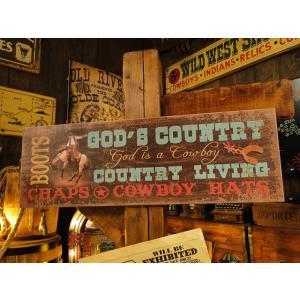 ウエスタン・ウッドサイン(ゴッドカントリー) アメリカ雑貨 アメリカン雑貨 木製看板 candytower