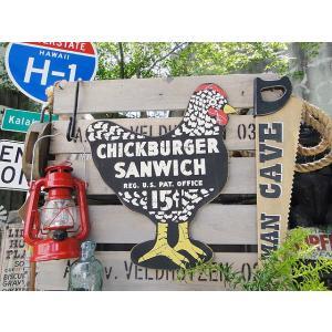 昔のアドバタイジングのウッドサイン(チックバーガー) アメリカ雑貨 アメリカン雑貨 木製看板|candytower
