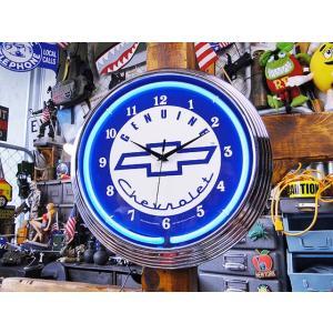 【全国送料無料】【即納】【在庫あり】 ガレージネオンクロック(シボレー/ブルー)  アメリカ雑貨 アメリカン雑貨|candytower