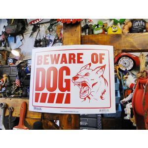 アメリカのプラスチックサインプレートL(猛犬注意) アメリカ雑貨 アメリカン雑貨|candytower