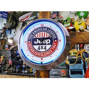 【全国送料無料】【即納】【在庫あり】 ガレージネオンクロック(ジープ)  アメリカ雑貨 アメリカン雑貨|candytower