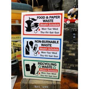 ゴミの分別の仕方 U.S.パブリックサインステッカーシリーズ(ゴミ分別3種/ミニサイズ) アメリカ雑貨 アメリカン雑貨|candytower