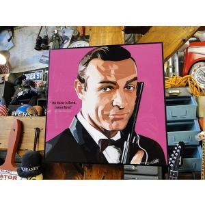 映画「007」ジェームズ・ボンド ショーン・コネリーのポップアートフレーム ■ アメリカン雑貨 アメリカ雑貨  パネル ポスター|candytower