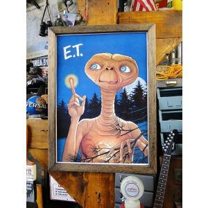 ポスターフレーム(E.T./ヒーリング) ■ アメリカ雑貨 アメリカン雑貨 ウッドフレーム  額付き 壁掛け B4サイズ candytower