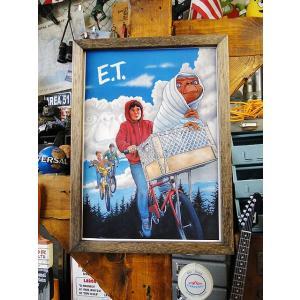 ポスターフレーム(E.T./フライングBMX) ■ アメリカ雑貨 アメリカン雑貨 ウッドフレーム  額付き 壁掛け B4サイズ candytower