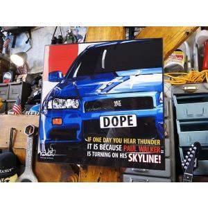 ニッサン スカイラインGT-R R34のポップアートフレーム■ アメリカン雑貨 アメリカ雑貨  パネル ポスター|candytower