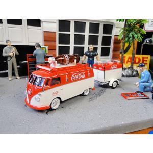 コカ・コーラ 1960年ワーゲンバス&トレーラーのダイキャストミニカー 1/43スケール ■ アメリカン雑貨 アメリカ雑貨 coke|candytower