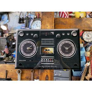 ラジカセ型ガラスウォールクロック ■ アメリカン雑貨 アメリカ雑貨 壁掛け時計|candytower