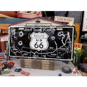 ルート66のライセンスプレート(ガンショット) ■ アメリカン雑貨 アメリカ雑貨|candytower