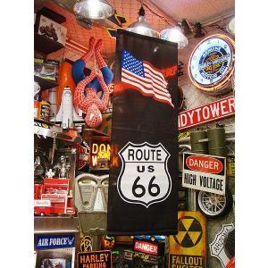ルート66&星条旗タペストリー(ブラック) アメリカ雑貨 アメリカン雑貨 おしゃれ 人気 フラッグ 壁掛け|candytower