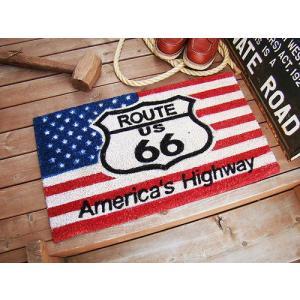 ルート66&星条旗のココマット(レクタングル) アメリカ雑貨 アメリカン雑貨 玄関マット 屋内 おし...