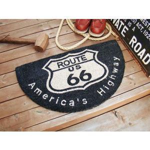 ルート66のココマット(ハーフラウンド) アメリカ雑貨 アメリカン雑貨 玄関マット 屋内 おしゃれ ...