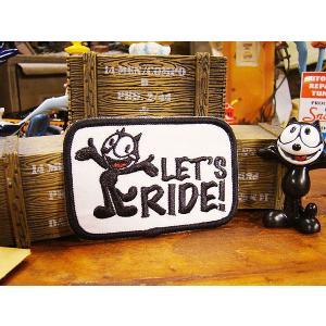 フィリックスのワッペン(LET'S RIDE!) アメリカ雑貨 アメリカン雑貨 エンブレム アイロン キャラクター ファッション アメカジ ロゴ おしゃれ 人気 candytower