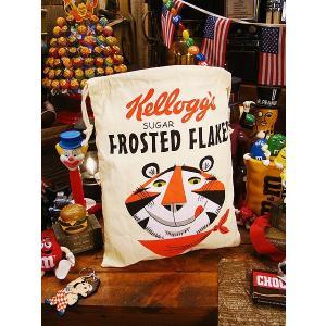 アメリカンキンチャク袋 Lサイズ(ケロッグ) アメリカ雑貨 アメリカン雑貨 巾着袋 バッグ 小物入れ|candytower