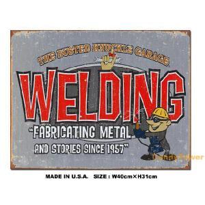 アメリカンブリキ看板 バステッドナックルガレージ -WELDING- アメリカ雑貨 アメリカン雑貨 サインプレート ティンサインボード|candytower