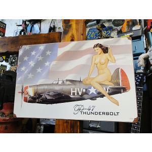 ピンナップガール&戦闘機のU.S.ヘヴィースチールサイン(P-47 サンダーボルト) アメリカ雑貨 アメリカン雑貨|candytower