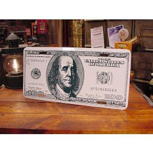 $100札のライセンスプレート アメリカ雑貨 アメリカン雑貨 おもしろグッズ おもしろ雑貨|candytower