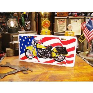 インディアンバイク&星条旗のライセンスプレート アメリカ雑貨 アメリカン雑貨|candytower