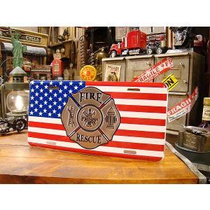 ファイヤーマン星条旗のライセンスプレート アメリカ雑貨 アメリカン雑貨|candytower