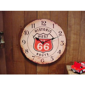 ヒストリックルート66ラウンドウォールクロック アメリカ雑貨 アメリカン雑貨壁掛け時計 インテリア おしゃれな部屋 人気|candytower