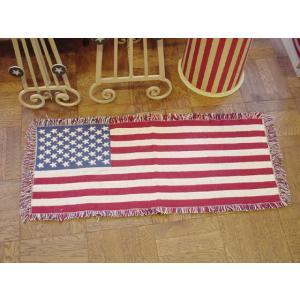 星条旗ラグマット・ホワイト(ロング) アメリカ雑貨 カントリー雑貨 おしゃれ インテリアマット candytower