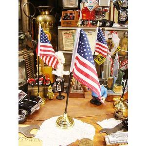 星条旗のミニフラッグ+金のスタンド付き アメリカ雑貨 アメリカン雑貨 旗|candytower