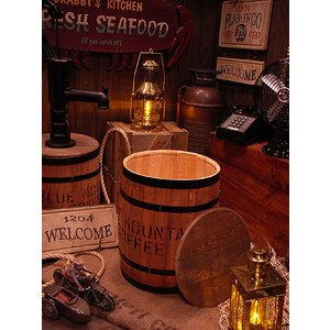 コーヒー木樽(小だる)うす茶 アメリカ雑貨 アメリカン雑貨 おしゃれ ゴミ箱 カントリー雑貨 ナチュラル|candytower