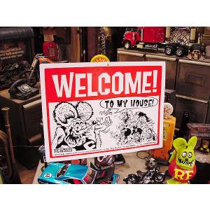 ラットフィンクのウェルカムプレート アメリカ雑貨 アメリカン雑貨 アメコミ 壁飾り アメキャラ グッズ インテリアグッズ ガレージ|candytower
