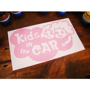 「子供乗ってます」のアメリカンステッカー(ピンク) アメリカ雑貨 アメリカン雑貨 車 シール ブラン...