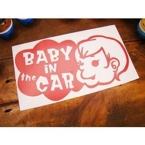 「赤ちゃん乗ってます」のアメリカンステッカー(レッド) アメリカ雑貨 アメリカン雑貨 車 シール ブ...