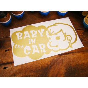 「赤ちゃん乗ってます」のアメリカンステッカー(ゴールド) アメリカ雑貨 アメリカン雑貨 車 シール ...