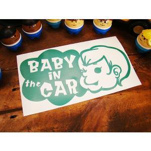 「赤ちゃん乗ってます」のアメリカンステッカー(グリーン) アメリカ雑貨 アメリカン雑貨 車 シール ...