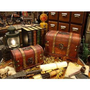 アンティーク宝箱型ボックス 大小2個セット ■ アメリカン雑貨 アメリカ雑貨 アンティーク風木箱 木箱 小物入れ 人気ランキング1位|candytower