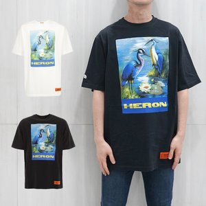 HERON PRESTON Tシャツ ヘロンプレストン オーバーサイズT OVER TSHIRT SS PERMANENT OFF WHITE MULTIE (全2色) 【HMAA001F19760001】|canetshop