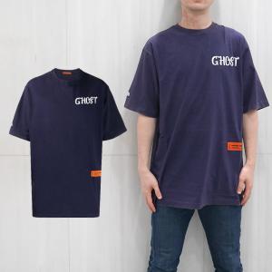 HERON PRESTON Tシャツ  ヘロン プレストン オーバーサイズTシャツ  GHOST OVER SIZE TEE (DARK BLUE)  【HMAA001F197600063201】|canetshop