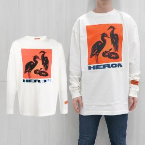 HERON PRESTON Tシャツ ヘロンプレストン 長袖Tシャツ ロンT REG TSHIRT LS NS HERONS TA OFF WHITE MULTI (0288/OFF WHITE) 【HMAB005F196000030288】|canetshop