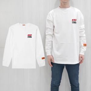HERON PRESTON Tシャツ  ヘロン プレストン style ドット オーバーサイズ ロンT 刺繍 ラバー LONG SLEEVE CTNMB DOTS TEE (WHITE)  【HMAB005F196000040288】|canetshop