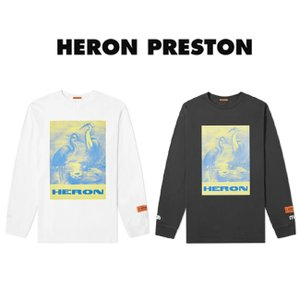 HERON PRESTON Tシャツ ヘロンプレストン Tシャツ ロンT 長袖Tシャツ REG TSHIRT LS HERON PAINT OFF BLACK MULTI (全2色) 【HMAB005F19600008】|canetshop