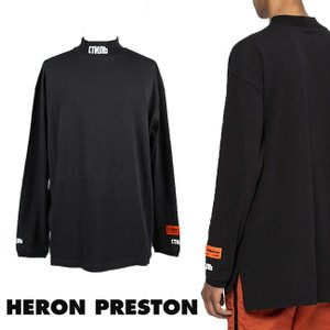 HERON PRESTON Tシャツ オーバーサイズ  ヘロン プレストン ロンT モックネック ユニセックス 刺繍 TURTLENECK CTNMB L/S Tee(BLACK)  【HMAB007F196000160401】|canetshop