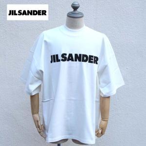 JIL SANDER ジルサンダー Tシャツ オーバーサイズ モックネック ロゴTシャツ メンズ OVER SIZE LOGO TEE  100 / WHITE 【JSMP707020MP248508】|canetshop