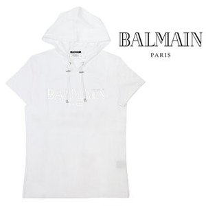 BALMAIN バルマン Tシャツ フード付き 半袖 (0FA / WHIE) Logo patch T-shirt【RH11180I057】 canetshop