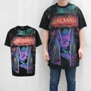 BALMAIN バルマン オーバーサイズ ダメージ Tシャツ メンズ 半袖Tシャツ (AAA MULT)'Cuba' print T-shirt【RH11860I053】 canetshop