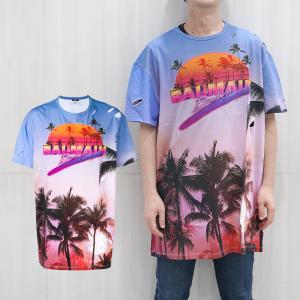 BALMAIN バルマン オーバーサイズ ダメージ Tシャツ メンズ 半袖Tシャツ(AAA MULT)'Beach Club' print T-shirt【RH11860I033】 canetshop