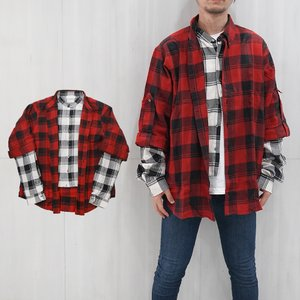 FAITH CONNEXION フェイスコネクション CHECK DOUBLE SLEEVES SHIRTS レイヤードシャツ (611 RED / BLACK)Layered Button-Up Shirt【X1800T00228】|canetshop