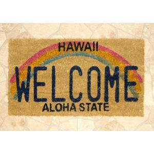 玄関マット コイヤーマット Hawaii ハワイ Aloha 長方形 ウェルカムマット 北欧 おしゃれ 屋外 屋外用 天然素材 風水 エントランスマットの写真