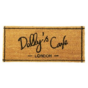 玄関マット コイヤーマット Dolly's Cafe ベージュ ブラック Welcome ウェルカム...