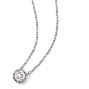 ダイヤモンド ネックレス 一粒 0.15ct K18 ホワイトゴールド Nudie Heart Plus(ヌーディーハートプラス)人気の覆輪留 ペンダント|canitz