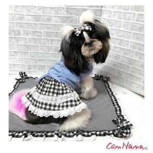 犬 服 ワンピース チェック リボン レース 春 夏  きゃんナナ ドッグウェア ブランド|cannanaonline|02