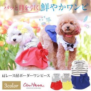 犬 服 春 夏 ワンピース ボーダー レース 犬の服 きゃんナナ ドッグウェア ブランド|cannanaonline
