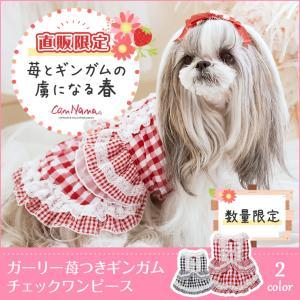 犬 服 犬服 ワンピース いちご 春 チェック 犬の服 新作 きゃんナナ ドッグウェア ブランド|cannanaonline